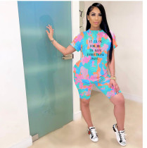 Camo Letter Print Casual Two Piece Shorts Set GS-TY1807