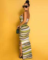 Sexy Tie Dye Striped High Split Long Maxi Dress BS-YZ1177
