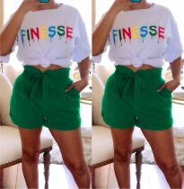 Casual Letter Print T Shirt And Shorts 2 Piece Sets AIL-089