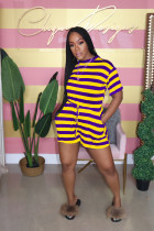 Casual Stripe Short Sleeve Rompers AIL-091-1
