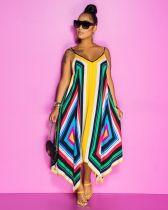 Geometric Floral Print Loose Irregular Slip Maxi Dress BS-YZ1179