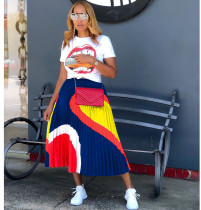 Casual Printed T Shirt And Long Pleated Skirt 2 Piece Sets AIL-090
