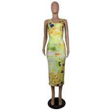 Sexy Tie Dye Sleeveless Open Back Long Dress BS-Z1178