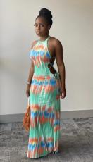 Sexy Tie Dye Sleeveless Lace Up Maxi Dress BS-YZ1180