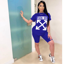 Casual Letter Print Short Sleeve Two Piece Sets CYAO-8547