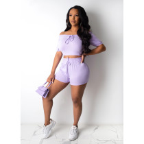 Sexy Slash Neck Fitness Two Piece Shorts Set CHY-1222