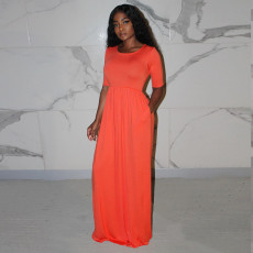 Solid Short Sleeve Big Swing Maxi Dress ORY-5149