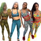 Casual Printed Tank Top Long Pants Fitness 2 Piece Sets OD-8370