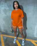 Casual Letter Print T Shirt Shorts Two Piece Sets YN-080