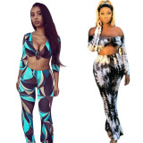 Sexy Printed 3/4 Sleeve Two Piece Pants Set HM-6302
