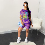 Cartoon Tie Dye Print Casual Two Piece Shorts Set YS-8531