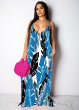Leaves Print Big Swing Spasghetti Strap Maxi Dress TR-1019