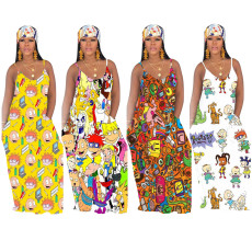 Cartoon Print Big Swing Slip Maxi Dress TR-1021