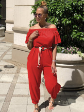 Solid Slash Neck With Belt One Piece Jumpsuit TR-1017