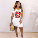 Cartoon Lips Print V Neck T Shirt Dress YN-083