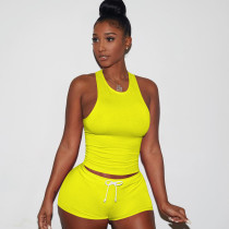 Solid Sleeveless Summer Two Piece Shorts Suit TE-3147-1