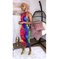 Sexy Tie Dye Print Sleeveless Slim Midi Dress YF-K9650