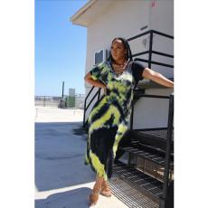 Tie Dye Print V Neck Short Sleeve Maxi Dress YF-K9633