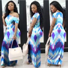 Fashion Oblique Shoulder Gradient Colorful Maxi Dress PN-6337