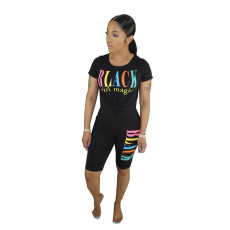 Hot Sale Solid Color Letter Printed Short Sleeve Two Piece Set BN-9224