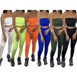Solid Tube Top And Pants Casual Two Piece Sets TR-1011
