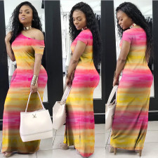 Fashion Oblique Shoulder Gradient Colorful Maxi Dress PN-6337