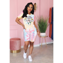 Tie Dye Print Casual Two Piece Shorts Set QZX-6122