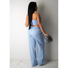 Solid Tube Tops And Pants Sexy 2 Piece Suits CHY-1220