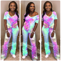 Tie Dye Print V Neck T Shirt Stacked Pants 2 Piece Suits AL-168