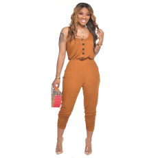 Solid Sleeveless Casual Stacked Jumpsuits CM-728