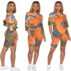 Tie Dye Print V Neck T Shirt And Shorts 2 Piece Sets SH-3763
