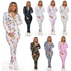 Casual Printed Long Sleeve Front Zipper Skinny Jumpsuit SFY-110