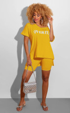 Letter Print T Shirt And Shorts Two Piece Sets SFY-107