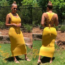 Plus Size Solid Color backless Straps Long Dress CH-8103