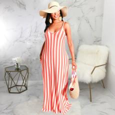 Casual Loose Striped V Neck Slip Maxi Dress SMR-9615