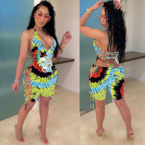 Tie Dye Cartoon Print Backless Lace Up Hollow Palysuits HMS-5308
