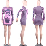 Letter Print Sexy Bodycon Dress MIL-088