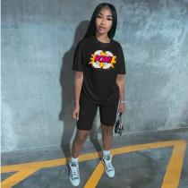 Plus Size Letter Print T Shirt And Shorts 2 Piece Suits RSN-746