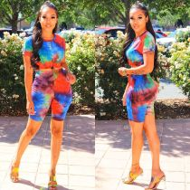 Tie-dye Print Neck Round Casual Two Piece Set OYF-8193