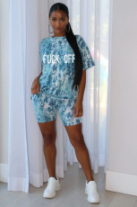 Letter Printed Casual Short Sleeve Shorts Two Piece Set JH-157