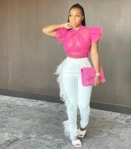 Fashionable Mesh Sexy Ruffle Sleeveless Top YM-9202