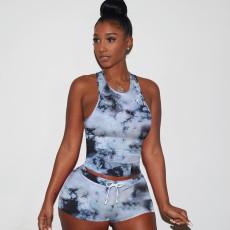 Printed Vest Sports Shorts Two Piece Set TE-4024