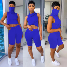 Solid Sleeveless Casual Two Piece Shorts Set With Mask TE-4018-1