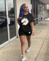 Plus Size Daisy Print T Shirt Shorts Two Piece Sets LDS-3218