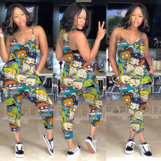 Plus Size Colorful Cartoon Printed Jumpsuit MA-318