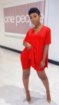 Casual Loose Short Sleeve Split T-shirt Shorts Two Piece Set TR-1025
