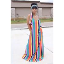 Colorful Stripe Casual Loose Slip Maxi Dress With Headscarf YIM-8109
