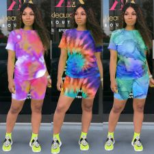 Tie Dye Print Casual Two Piece Shorts Set CXM-8056