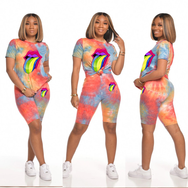 Tie Dye Tongue Print Casual Two Piece Shorts Set MIL-109