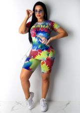 Tie Dye Print Casual Two Piece Shorts Set CXM-8054